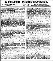 Kurjer Warszawski., R.26, nr 58 (1 marca 1846)