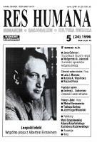 Res Humana : humanizm, racjonalizm, kultura świecka 1996 R. VI nr 5 (24)