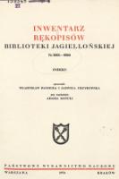 Inwentarz rękopisów Biblioteki Jagiellońskiej : nr 8001-9000. Indeks