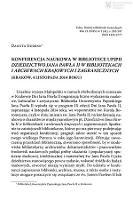 """Konferencja naukowa w Bibliotece UPJPII """"Dziedzictwo Jana Pawła II w bibliotekach i archiwach krajowych i zagranicznych"""" (Kraków, 4 listopada 2014 roku) - Gurdak, Danuta"""