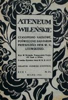 Ateneum wileńskie. Tom I, Rocznik 1 - Chodynicki, Kazimierz red. (1890-1942)