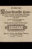 Der Ander Theil, Newer Deudsher Lieder, mit dreyen Stimmen, welche nicht allein lieblich zu singen, sondern auch auff allerley Jnstrumenten zu gebrauchen. Bassus - Lange, Gregor (1540-1587)