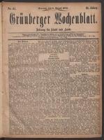 Grünberger Wochenblatt: Zeitung für Stadt und Land, No. 61. (1. August 1875)