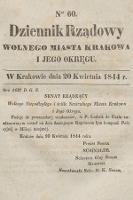 Dziennik Rządowy Wolnego Miasta Krakowa i Jego Okręgu. 1844, nr60