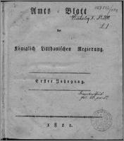 Amts-Blatt der Königlichen Litthauischen Regierung 1811, R. 1