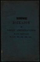 Skorowidz rozkazów do Zarządu Administracyjnego Miasta Warszawa za lata 1864,1865,1866,1867.