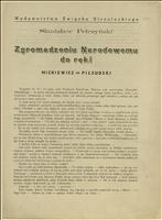 Pismo Stanisława Pełczyńskiego do Zgromadzenia Narodowego, w którym popiera zamach majowy i porównuje Piłsudskiego do Mickiewicza - Pełczyński, Stanisław