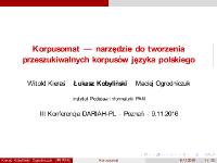 Korpusomat — narzędzie do tworzenia przeszukiwalnych korpusów języka polskiego - Kieraś, Witold