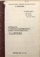 Informacja o realizacji ważniejszych zadań gospodarczych za m-c grudzień 1988 r. w województwie miejskim krakowskim
