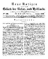 Neue Notizen aus dem Gebiete der Natur- und Heilkunde, 1842 (Bd. XXIV, nr 20), Dezember - No 526