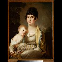 Portret Teofili z Morawskich Radziwiłłowej (1791-1828) z synkiem Aleksandrem Dominikiem (1808-1859) lub córeczką Stefanią (1809-1832) - Lampi, Franciszek Ksawery (1782-1852)