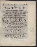 Sarmatides Seu Satyrae Cuiusdam Equitis Poloni - Poniński, Antoni (koniec XVII w.-1744)