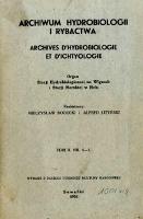 Archiwum Hydrobiologii i Rybactwa 1936 t.10, nr 1-3