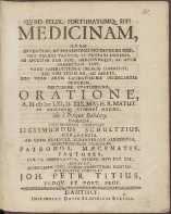 Medicinam, Qvam Inventum, Ac Munus Omnino Divinum Esse, [...] Oratione, A. H. cIc Icc LXI. D. XIX Maj.[...] Habenda Com Mendare Constituit Sigismundus Schultzius, Gedanensis. [...] Invitat [...] Joh. Petr. Titius [...]. - Titz, Johann Peter (1619-1689)