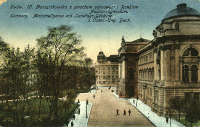 Lwów : ulica Marszałkowska z gmachem sejmowym i Bankiem Austro-węgierskim