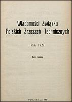 Wiadomości Związku Polskich Zrzeszeń Technicznych 1929 spis rzeczy