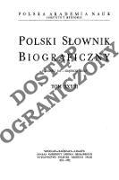Polski słownik biograficzny T. 33 (1991-1992), Rudowski Jan - Rząśnicki Adolf, Część wstępna