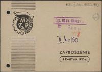 Zaproszenie [Inc.:] [...] Uroczystość podsumowania udziału młodzieży w współzawodnictwie za IV kwartał 1949 r. [...]