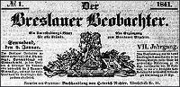 Der Breslauer Beobachter. Ein Unterhaltungs-Blatt für alle Stände. Als Ergänzung zum Breslauer Erzähler 1841-12-25 Jg.7 Nr 154