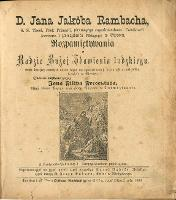 D. Jana Jakóba Rambacha Rozpamiętywania o Radzie Bożej Zbawienia ludzkiego, której świętej pamięci autor kazał na czwartkowych kazaniach w miejskim kościele w Giessen - Rambach, Johann Jacobo (1693-1735)