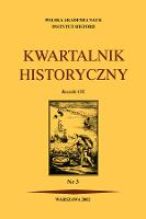 Kwartalnik Historyczny R. 109 nr 3 (2002), Strony tytułowe, spis treści