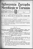 Ogłoszenia Zarządu Miejskiego w Toruniu 1935, R. 12, nr 16
