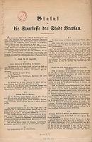 Statut für die Sparkasse der Stadt Breslau - Magistrat hiesiger Königlichen Haupt- und Residenzstadt. (Wrocław)