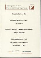 Pieśń o ziemi : spotkanie autorskie z Janem Owczarkiem - afisz [Dokument życia społecznego] - Jeleniogórskie Centrum Informacji i Edukacji Regionalnej - Książnica Karkonoska