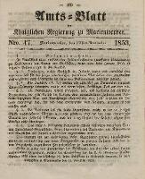 Amts-Blatt der Königl. Regierung zu Marienwerder, 23. November 1853, No. 47.