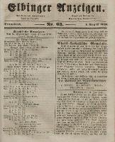 Elbinger Anzeigen, Nr. 63. Sonnabend, 8. August 1846
