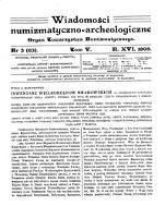 Wiadomości Numizmatyczno-Archeologiczne. 1905, nr 3