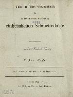 Tabellarisches Verzeichniss der in der Churmark Brandenburg einheimischen Schmetterlinge. H. 1 - Vieweg, Karl Friedrich (17..- post 1789)