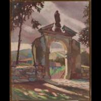 Stara brama przy farze w Myślenicach - Krzyszkowski, Jan (1899-1944)