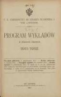 Program wykładów w półroczu zimowem 1911/1912. C.K Uniwersytet imienia Cesarza Franciszka I we Lwowie