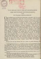 Zur Geschichte des Bücherwesens des Deutschen Ritterordens - Schilmann Fritz