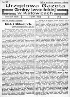 Urzędowa Gazeta Gminy Izraelickiej w Katowicach, 1936, nr 117