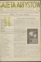 Gazeta Artystów : tygodnik artystyczno – społeczny. R. 1, 1934 nr 11 (17 XI)