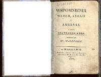 Wspomnienia Włoch, Anglii i Ameryki : z dzieł Chateaubranda - Chateaubriand, François René de (1768-1848)