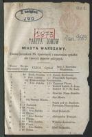 Taryfa domów miasta Warszawy ułożona porządkiem NN. hipotecznych z oznaczeniem cyrkułów ulic i nowych numerów policyjnych