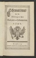 Schematismus für die Königreiche Galizien und Lodomerien 1792