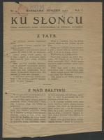 Ku Słońcu : pismo młodzieży Gim[nazjum] Państwowego im. Stefana Batorego. R. 1, 1922 nr 3 (styczeń) - Gimnazjum Państwowe im. Stefana Batorego (Warszawa)