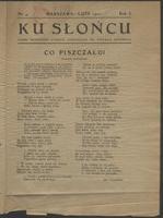 Ku Słońcu : pismo młodzieży Państw[owego] Gimnazjum im. Stefana Batorego. R. 1, 1922 nr 4 (luty) - Gimnazjum Państwowe im. Stefana Batorego (Warszawa)