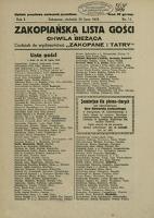 Zakopiańska Lista Gości i Chwila Bieżąca. 1931, nr 11 (26 VII)